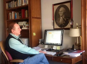Warren Adler at his desk
