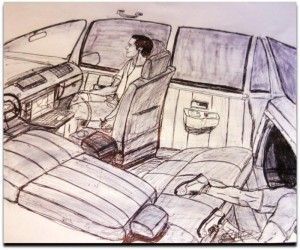 Drawing by Lee Boyd Malvo of the car he and John Allen Muhammad used